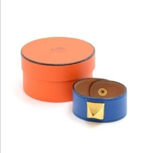 💋Hermès Blue Medor Leather Gold Stud Cuff